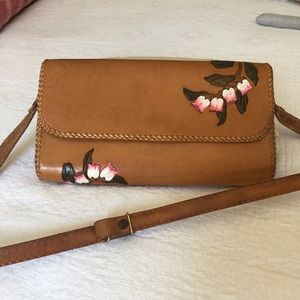 Tooled Leather Handbag with Flowers